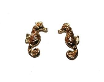 Vintage Gold Tiny Seahorse Stud Earrings  - ocean earrings mermaid earrings stud earrings seahorse stud earrings