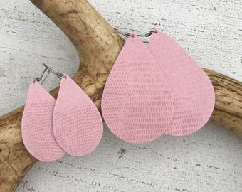 Bubblegum Pink Leather Teardrop Earrings