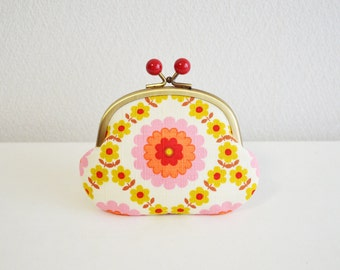Retro folk floral coin purse with red acrylic balls [309] Handmade in Japan.  - frame purse, orange and blue. Scandinavian floral.