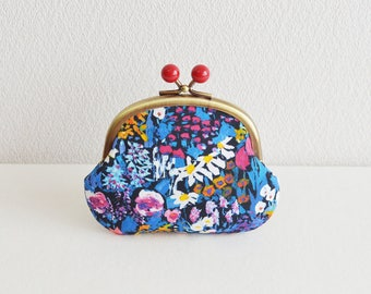 Elegant floral coin purse with red acrylic balls [357] Handmade in Japan. - frame purse