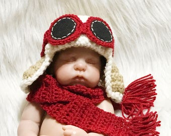 Newborn Baby Boy or Girl Aviator Hat w Goggles and Scarf - Fly - Airplane Hat - Photo Prop - ANY Colors - Earflap Hat - Reborn - AG Dolls