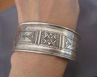Vintage Sterling African Tribal Cuff Bracelet