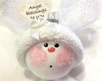 Angel Christmas Ornaments Gift White Angel Blessings to You Hand Painted Handmade Personalized Themed by Townsend Custom Gifts - F