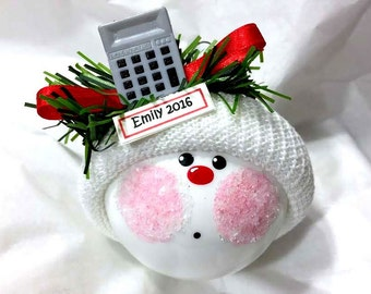 BUSINESS CHRISTMAS Ornaments Calculator Accounting 2017 Personalized Name Tag Hand Painted Handmade by Townsend Custom Gifts - BackRoom