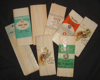 Lot of Vintage Trim and Seam Binding.  Mixed Lot of White Trims Floral Lace Ribbon Seam Tape.  Shades of White Trim