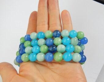 "10mm Azure quartz round beads , azure quartz  (41 beads), full strand (15.5""), multi quartz, blue and green quartz"