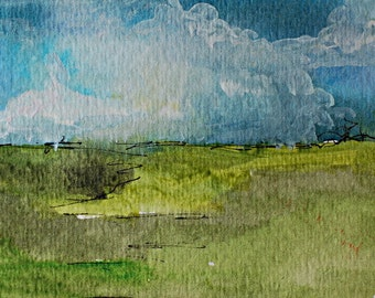 Original ACEO Artists Trading Card  Acrylic Painting Landscape Storm brewing over the Prairie