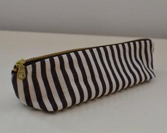 Pencil Case in Graphic Stripe - black and white zipper pouch travel bag canvas mens womens school toiletry art supplies cord organizer