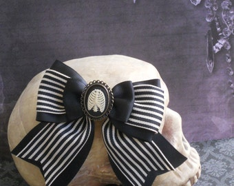 Gothic Lolita hair bow rib cage cameo on a stripe bow
