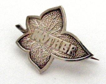 Edwardian sterling silver ivy leaf MOTHER brooch