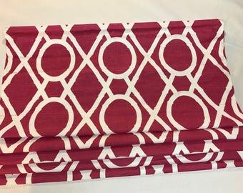 Clearance Roman Shade in Raspberry Geometric
