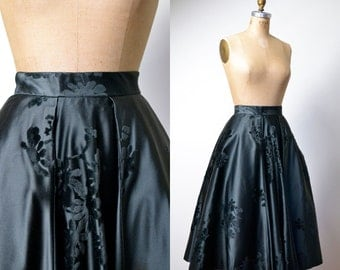 1950s Flocked Velvet Skirt