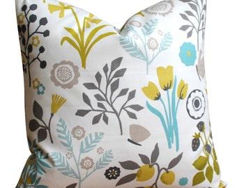 Flower Pillow Cover, 18x18 Pillow Case, Floral Pillow Cover, Decorative Cushion Cover, Pillow Slip, Toss Pillow - Folk Flowers Chartreuse