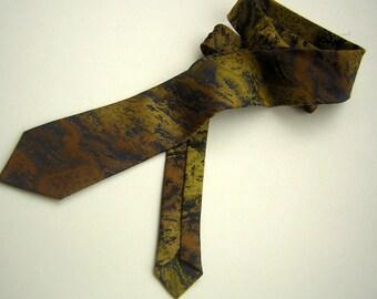 Wembley Neck Tie Vintage 60s Dark Navy & Bronze Stormy WEMLON Weave - Mad Men Gift for Him