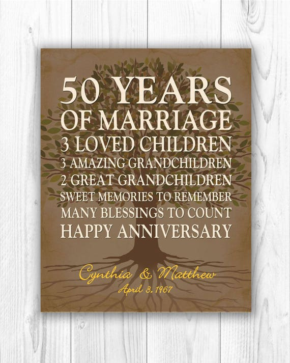 gift for parents anniversary gift golden anniversary 50th wedding ...