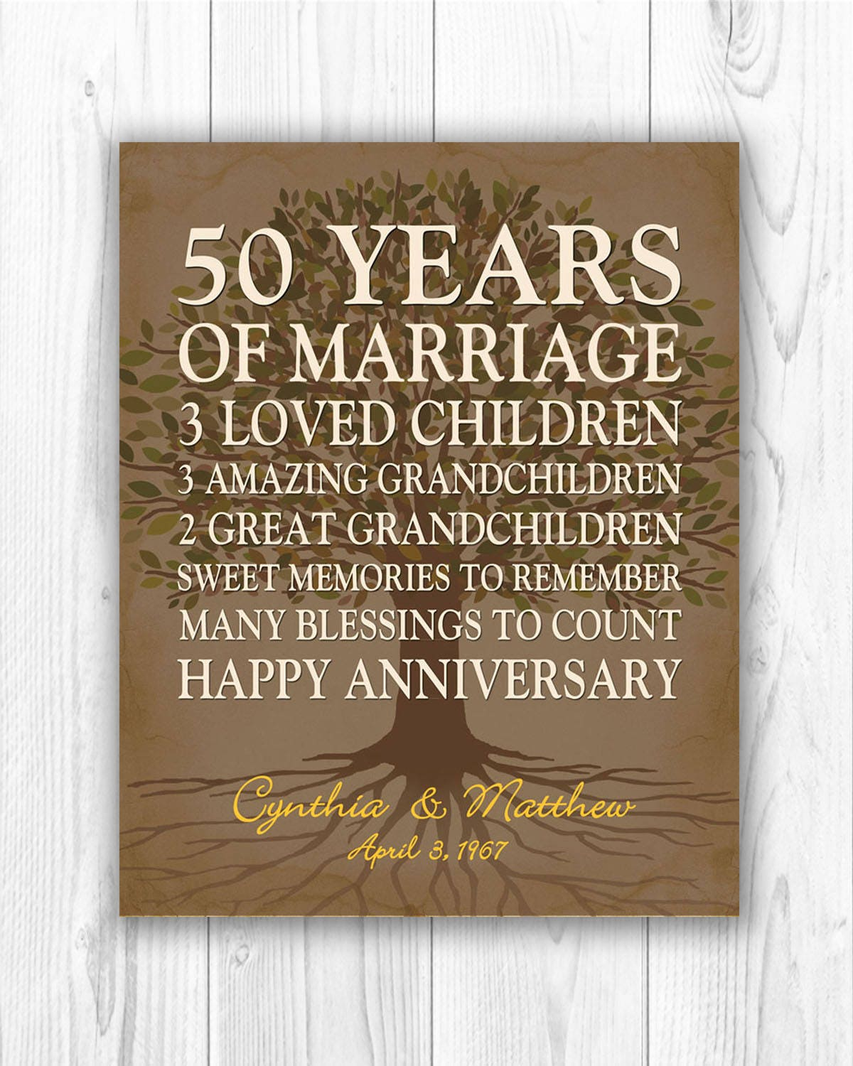Gift Of Wedding Anniversary: 50th Anniversary Gift For Parents Anniversary Gift Golden
