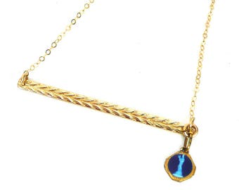 14k gold filled bar and Virgin Mary Medal Necklace