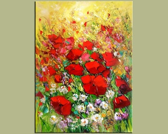 ORIGINAL Oil Painting Colorful painting modern painting Flower Made 2 order Red Roses Spring Palette Knife Textured Vase ART by Marchella