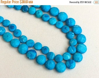 55% ON SALE Turquoise Faceted Coin Beads, Chinese Turquoise Beads, Turquoise Necklace 6-10mm, 8 Inch, 25 Pcs - GSA8