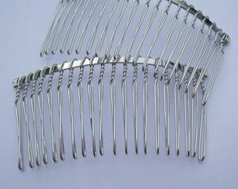 Hair combs, Silver combs, 20pcs metal hair combs, silver metal combs, Jewelry Hair Combs (20 teeth) 75x38mm