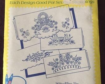 Aunt Martha's Iron On Transfers - Pillow  Slips flowers 3436