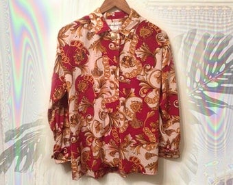 90s White Red Gold Royal Hip Hop Victorian Scroll Versace Style Scarf Print Long Sleeve Shirt with Big Gold Accent Buttons size Medium