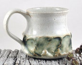 Coffee Mug -- Ceramic -- Handmade Pottery Tea Cup -- White Speckled Bone Green -Genrous Handle
