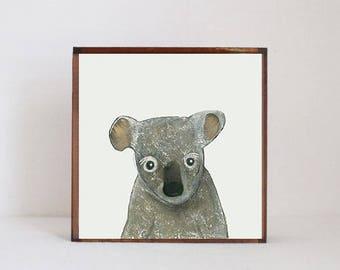 koala wall art, koala nursery art, koala nursery decor, australian animals, animal print, nursery decor, redtilestudio, pink nursery