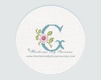"Antique Rose Monogram, Machine Cross Stitch Initial, Floral Font, Machine Embroidery, Decorative Font, Block Letter ""G"" - HBS-ROSEMNGR-G"