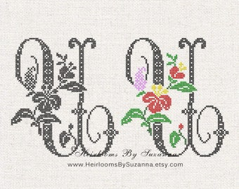 Large Antique Floral Monogram - Machine Cross Stitch Embroidery - Tropical Flower Initial - Cross Stitch Font - Floral Font U - HBS-61-U