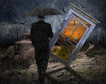 Surreal, Fantasy,Man in Black, with an Umbrella, in a Thunderstorm, Truck Wreck, Vultures, Window, Beach Sunset, Gulls, Photo Composite