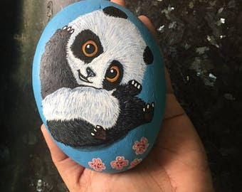 Painted Whimsical Black White Panda Cherry blossom River Rock Art Home Garden Decor paperweight Handpainted Panda Rock