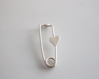 Handmade Safety Pin Brooch in Sterling Silver with Heart Emblem / Small Brooch Pin / Solidarity Pin / Handmade Heart Brooch