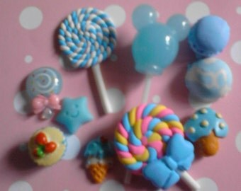 "Kawaii blue sweets cabochon decoden diy charm  "" 328 ""  10 pcs---USA seller"