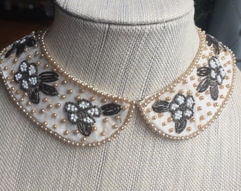 "Vintage 1950s Beaded Collar SPECIALTY HOUSE"" made in Japan, Pearl Sweater Collar"