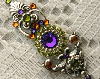 Bodacious Multi Colored Bindi in Oxidized Silver