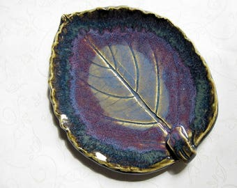 Dark Stormy Seas Pottery Leaf Spoon Rest or Dish