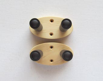 Plain ukulele wall mount hangers, hook.  Two pack, wood grain will vary.