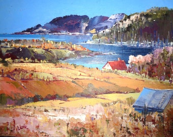 Oil painting, impressionism landscape painting, autumn country painting, artwork, palette knife art, Baie St-Paul, Charlevoix
