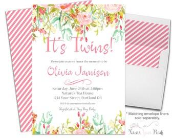 Printable Twins Baby Shower Invitation - Twin Baby Shower Invite - Whimsical Girl Baby Shower - Floral Baby Shower - Baby Girl Invitation