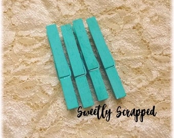 TURQUOISE CLOTHESPINS ... OCEAN Blue / Supplies / Farmhouse / Shabby Chic / Decor / Blue / Wooden Pegs / Distressed / Aqua / Clothes Pin