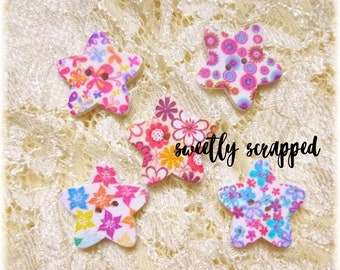 STAR BUTTONS ... Stars / Flowers / Button / Craft Supplies / DIY / Scrapbooking / Cardmaking / Floral / Embellishment / Sewing / Smash book