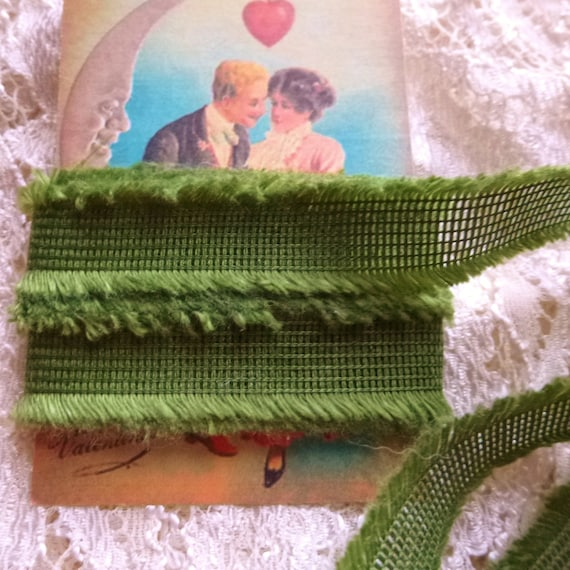 Grass Green Ribbon ... Trim / Seam Binding / Craft Supplies / DIY / Scrapbooking / Cardmaking / Rustic / Boho / Farmhouse / Frayed / Shabby