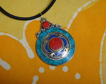 Turquoise Lapis and Red Coral Nepalese Inlaid Stone Pendant Necklace Tibetan Jewelry Navajo Sunface
