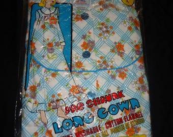 NOS Blue Floral Flannel Vintage 1970's Women's Long Nightgown L