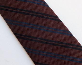 "Vintage 60's Skinny Silk Tie Necktie Brown Black Navy Blue Diagonal Stripes 2"""