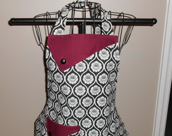 Black and White Flowers with Burgundy Women's Apron