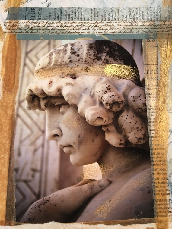 "Angel - Goddess Collage Gold - (5"" x 7"" photographic greeting card - blank inside/with envelope)"