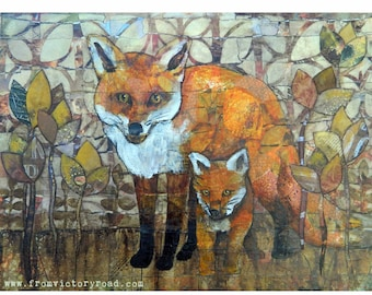 Original Mixed Media Artwork Foxy Mama
