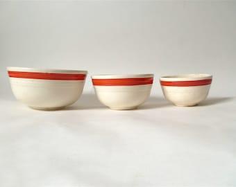 Vintage Set of 3 Midcentury Ceramic Mixing Bowls … Bake Oven Stoneware Nesting Bowls, Red Stripe, Glazed Ceramic Bowls, Kitchenware, Trio